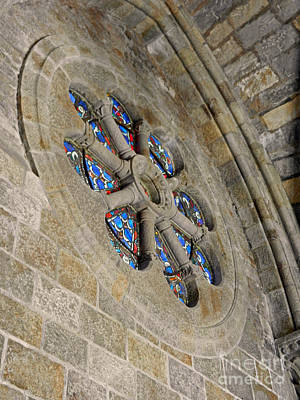 Photograph - Cathedral Stained Glass And Stone by Val Miller