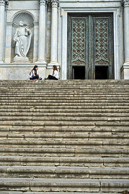 Photograph - Cathedral Steps Girona Spain by Christopher Rees