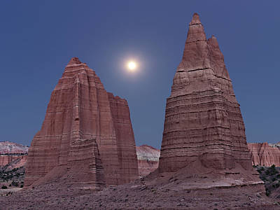 Photograph - Cathedral Valley Moonrise by Leland D Howard