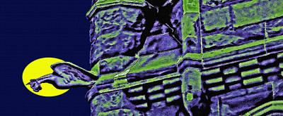 Creepy Mixed Media - Cathedral W/gargoyle - Poster Art by Steve Ohlsen