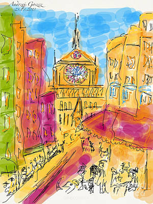 Cathedrale Notre Dame De Paris. I Love Paris - J Adore Paris . The Young Rebels Movement. Art Print by  Andrzej Goszcz