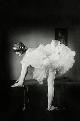 Leisure Photograph - Catherine Crandell Tying Her Ballet Shoes by Francis Bruguiere