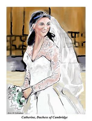 Kate Middleton Digital Art - Catherine Duchess Of Cambridge Print  by Eric  Schiabor