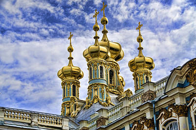 St John The Russian Photograph - Catherine Palace Cupolas - St Petersburg Russia by Jon Berghoff