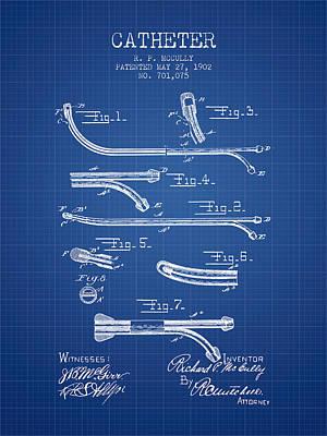 Catheter Patent From 1902 - Blueprint Art Print