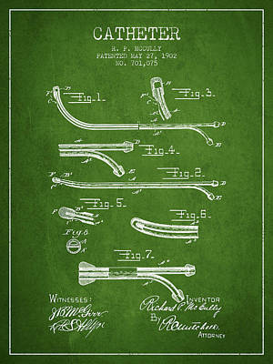 Catheter Patent From 1902 - Green Art Print by Aged Pixel