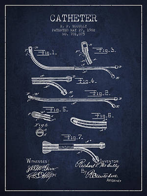 Kim Fearheiley Photography Royalty Free Images - Catheter Patent from 1902 - Navy Blue Royalty-Free Image by Aged Pixel