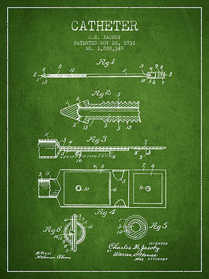 Catheter Patent From 1932 - Green Art Print by Aged Pixel