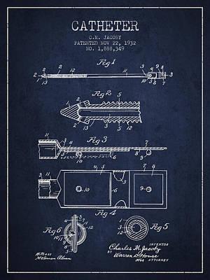 Catheter Patent From 1932 - Navy Blue Art Print