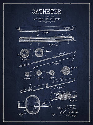 Catheter Patent From 1943 - Navy Blue Art Print by Aged Pixel
