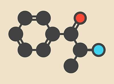 Cathinone Khat Stimulant Molecule Art Print by Molekuul