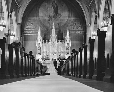 People And Events Photograph - Catholic Church Wedding by Charles Cocaine
