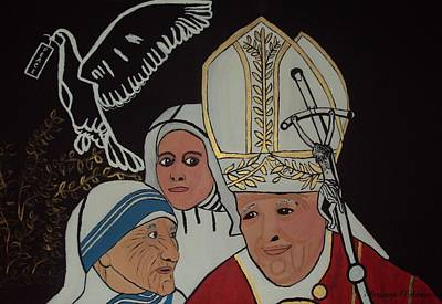Mother Theresa Painting - Catholic Leaders by Maryann  DAmico