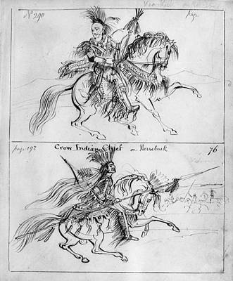 Chief Keokuk Drawing - Catlin Chiefs On Horseback by Granger