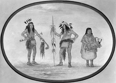 Carcass Painting - Catlin Ojibwa Warriors by Granger
