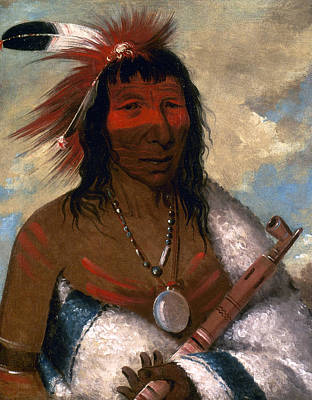 Eagle Feathers Painting - Catlin Sioux Chief, 1835 by Granger