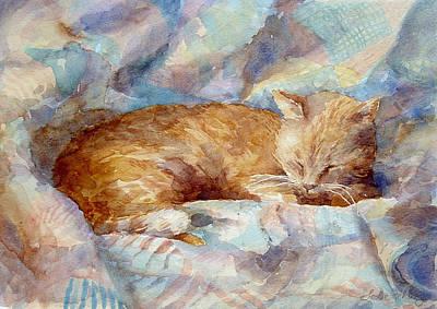 Orange Cat Painting - Catnap by Leslie Fehling