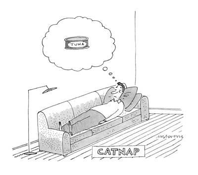 Catnap Drawing - Catnap by Mick Stevens