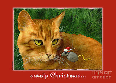 Humorous Cat Painting - Catnip Christmas... by Will Bullas
