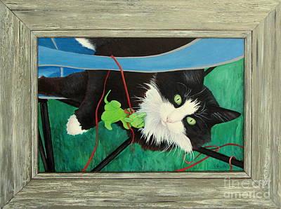 Blue Painting - Catnip Doggie  by Pamela Iris Harden