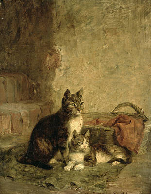 Tabby Photograph - Cats, 1883 Oil On Canvas by Julius Adam