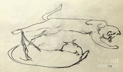 Drawing - Cats A-courting by Art By - Ti   Tolpo Bader