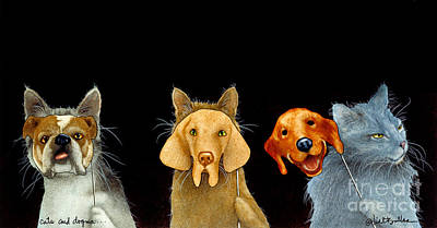 Humorous Cat Painting - Cats And Dogma... by Will Bullas