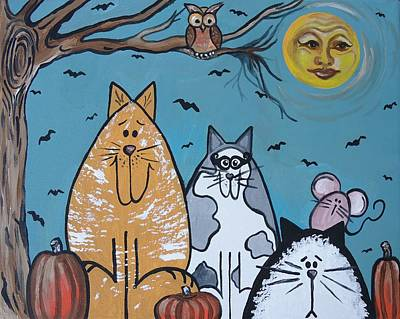 Painting - Cats And Harvest Moon by Leslie Manley