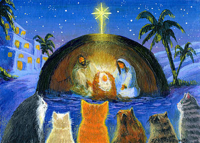 Orange Tabby Painting - Cats At The Nativity by Jacquelin Vanderwood