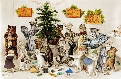 Photograph - Cats Decorating Christmas Tree 1906 by Photo Researchers