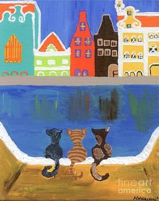 Aruba Painting - Cats Enjoying The View by Melissa Vijay Bharwani