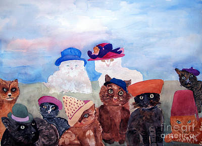 Painting - Cats In Hats by Sandy McIntire