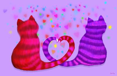 Animal Lover Digital Art - Cats In Love by Nick Gustafson