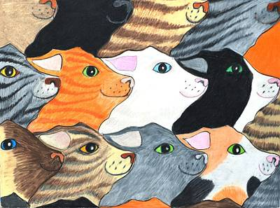Drawing - Cat's On Parade by Jane Loveall