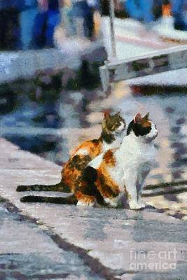Painting - Cats On Pier by George Atsametakis