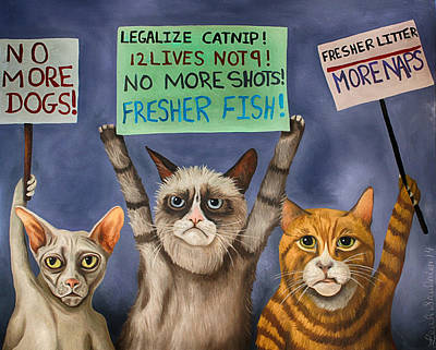 Cats On Strike Edit 3 Art Print by Leah Saulnier The Painting Maniac