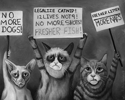 Cats On Strike Edit 5 Art Print by Leah Saulnier The Painting Maniac