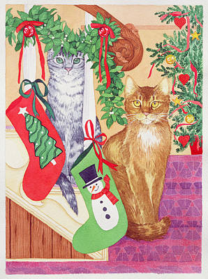 Winter Fun Painting - Cats On The Stairs by Suzanne Bailey