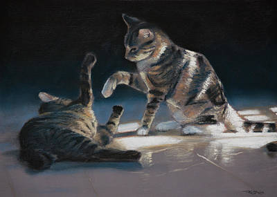 Horizontal Painting - Cats Playing by Christopher Reid