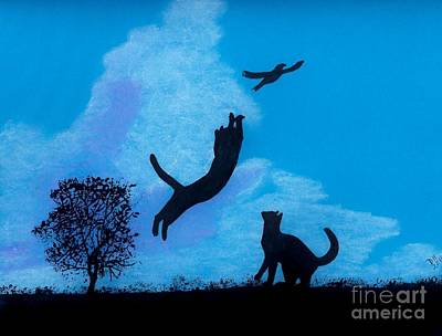 Nature Drawing - Cats -  Playing by D Hackett