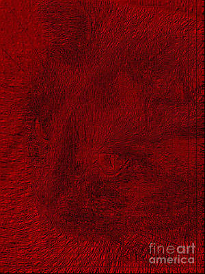 Digital Art - Cat's Portrait From The Red  Pieces Of Glass by Oksana Semenchenko