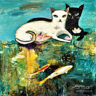 Lotus Pond Painting - Cats With Koi by Shijun Munns