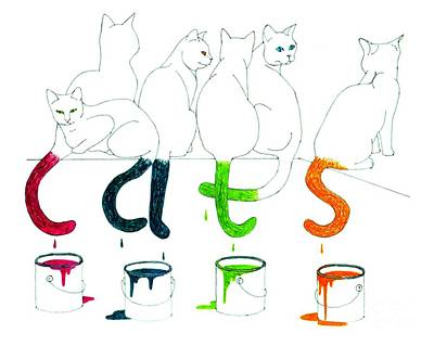 Drawing - Cats With Paint Cans by Patricia Overmoyer