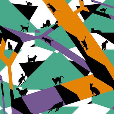 Kitty Digital Art - Catstract by David G Paul