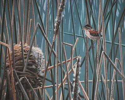 Painting - Cattail Hideaway by Peter Mathios