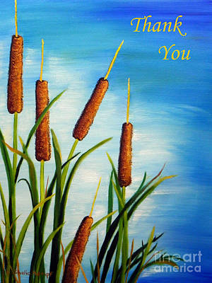 Painting - Cattail Thank You Greeting Card by Shelia Kempf