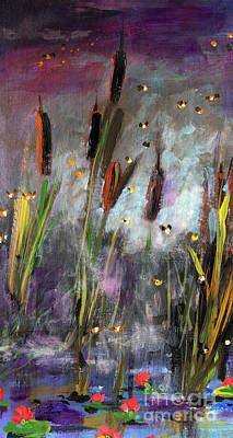 Painting - Cattails And Fireflies by Ginette Callaway