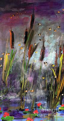 Cattails And Fireflies Art Print