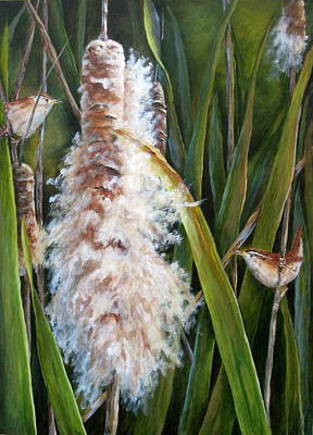 Cattails And Wrens Art Print by Mary McCullah