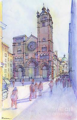 Cattedrale Di S. Lorenzo A Genova Art Print by Luca Massone